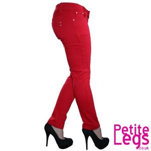 Daisy Skinny Jeans in Block Pop Red | UK Size 8 | Petite Leg Inseam 25 inches